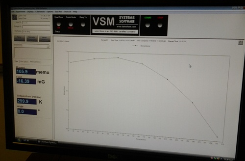 A finished test measurement: a low temperature measurement of a Ni sphere sample.
