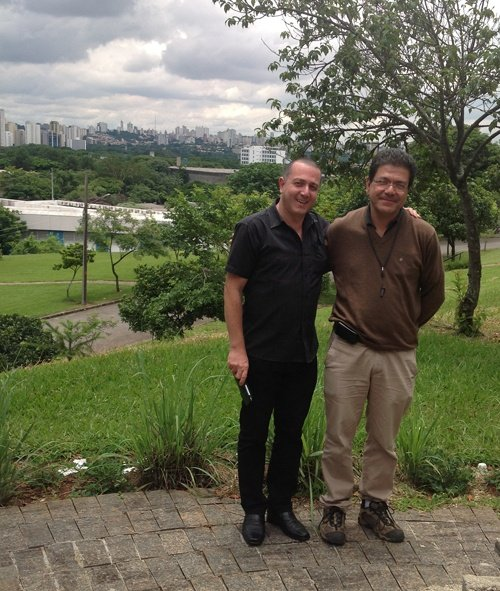 Rento and Marcelo (Lake Shore representative for Brazil) pose for a photo in front of the Sao Paulo skyline.